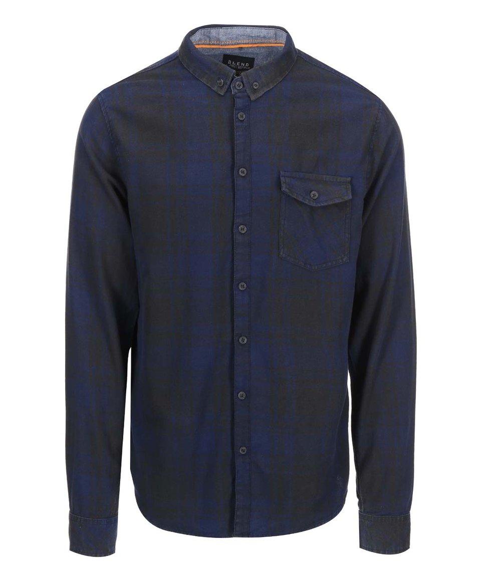 Modro-černá kostkovaná košile Blend
