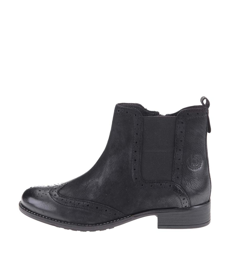 Černé dámské kožené kotníkové boty bugatti Debra