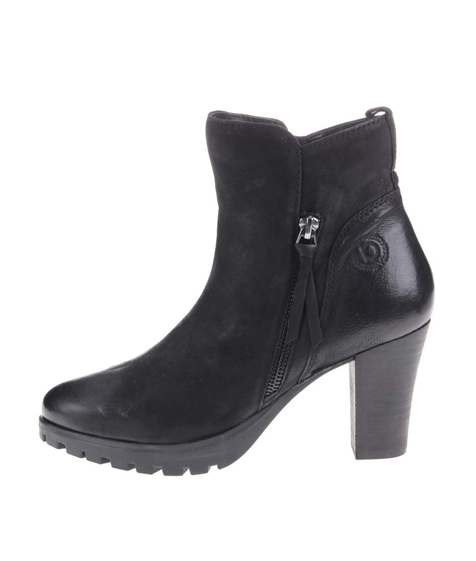 Černé dámské kožené boty na podpatku bugatti Fallon
