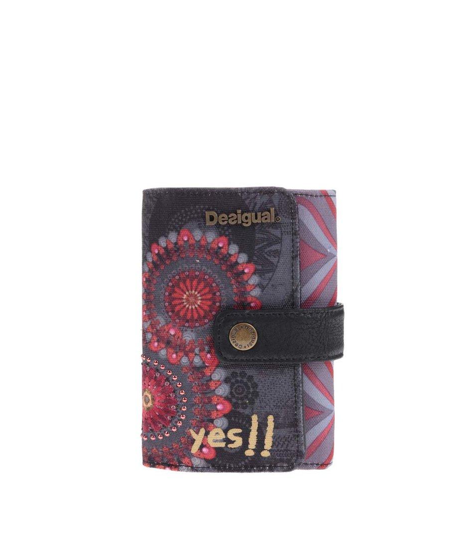 Červeno-šedá vzorovaná peněženka Desigual