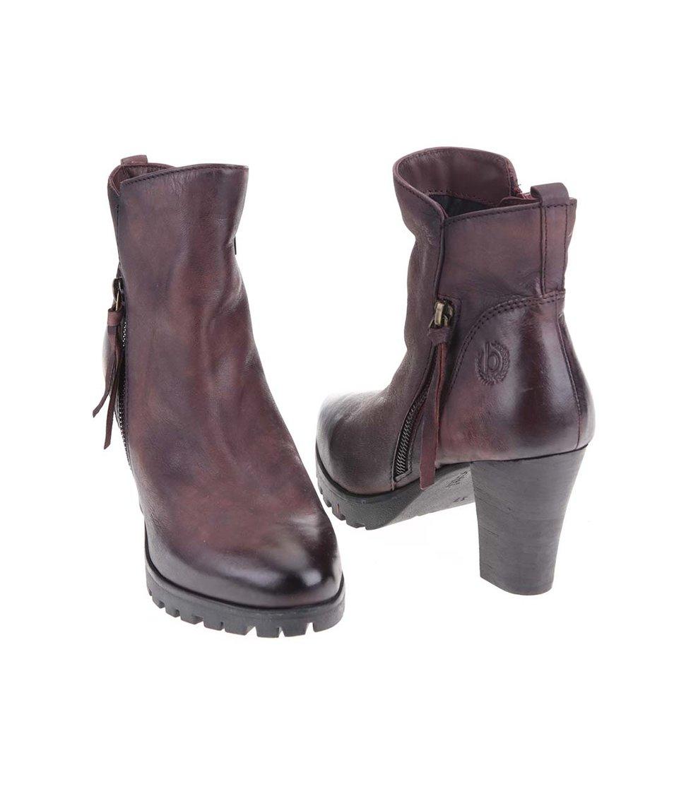 Hnědé dámské kožené boty na podpatku bugatti Fallon