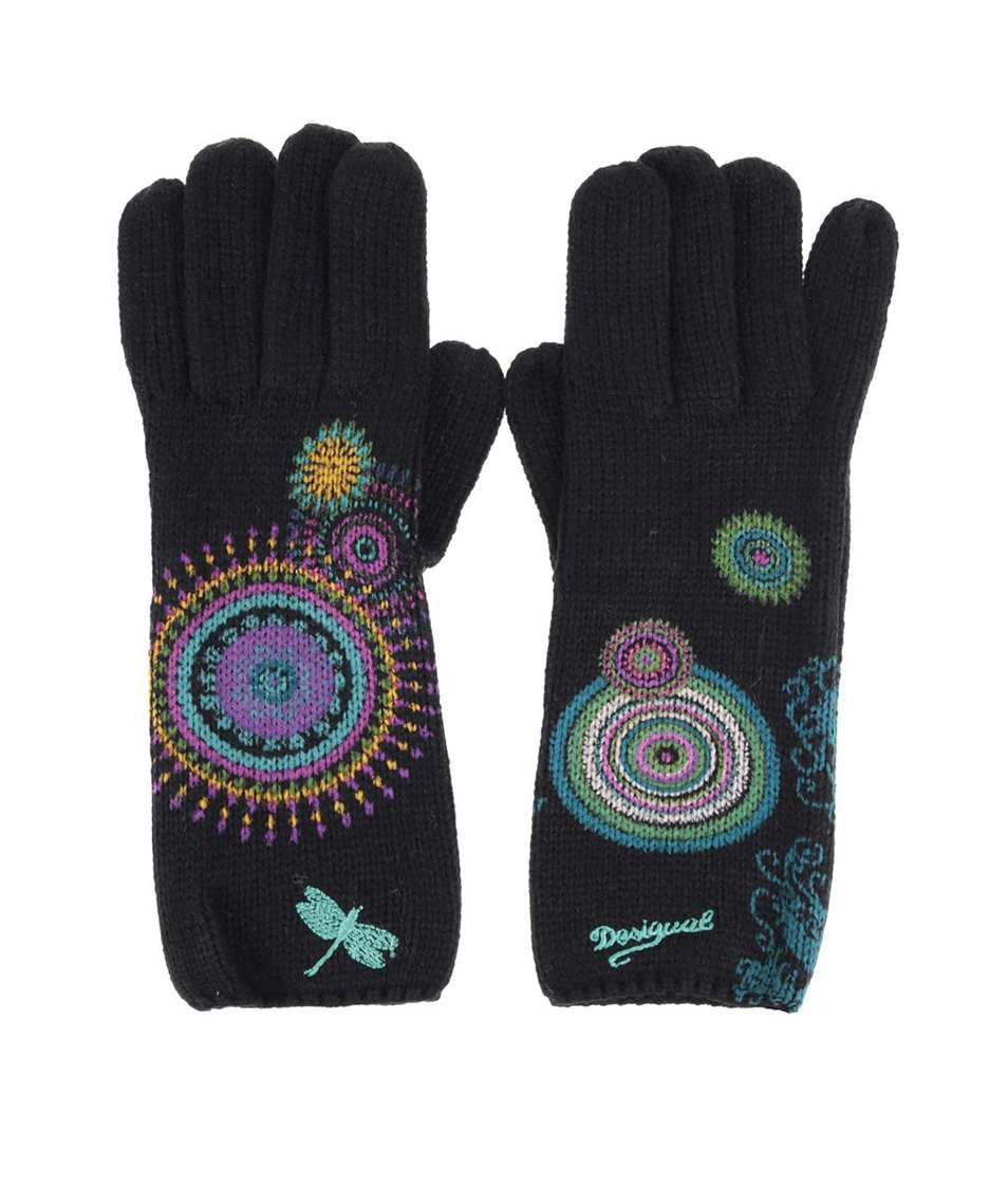 Černé rukavice se vzorem Desigual Eclipse