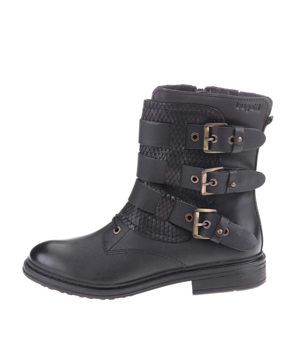 Černé dámské kožené boty s přezkami bugatti Faye