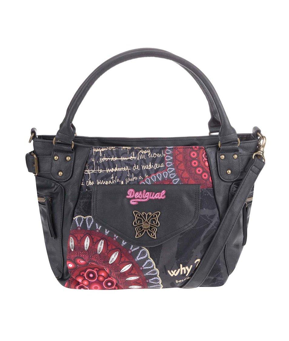 Černá kabelka s barevnými vzory Desigual Bolas Rojas
