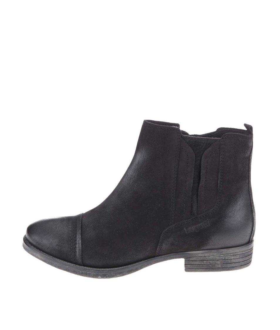 Černé dámské kožené kotníkové boty bugatti Hally