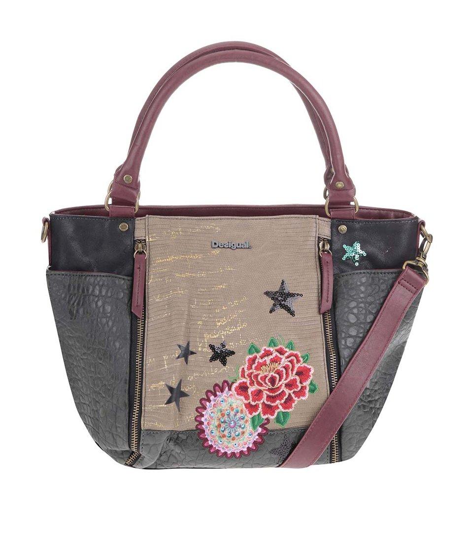Khaki kabelka s výšivkou Desigual Marteta Eclipse