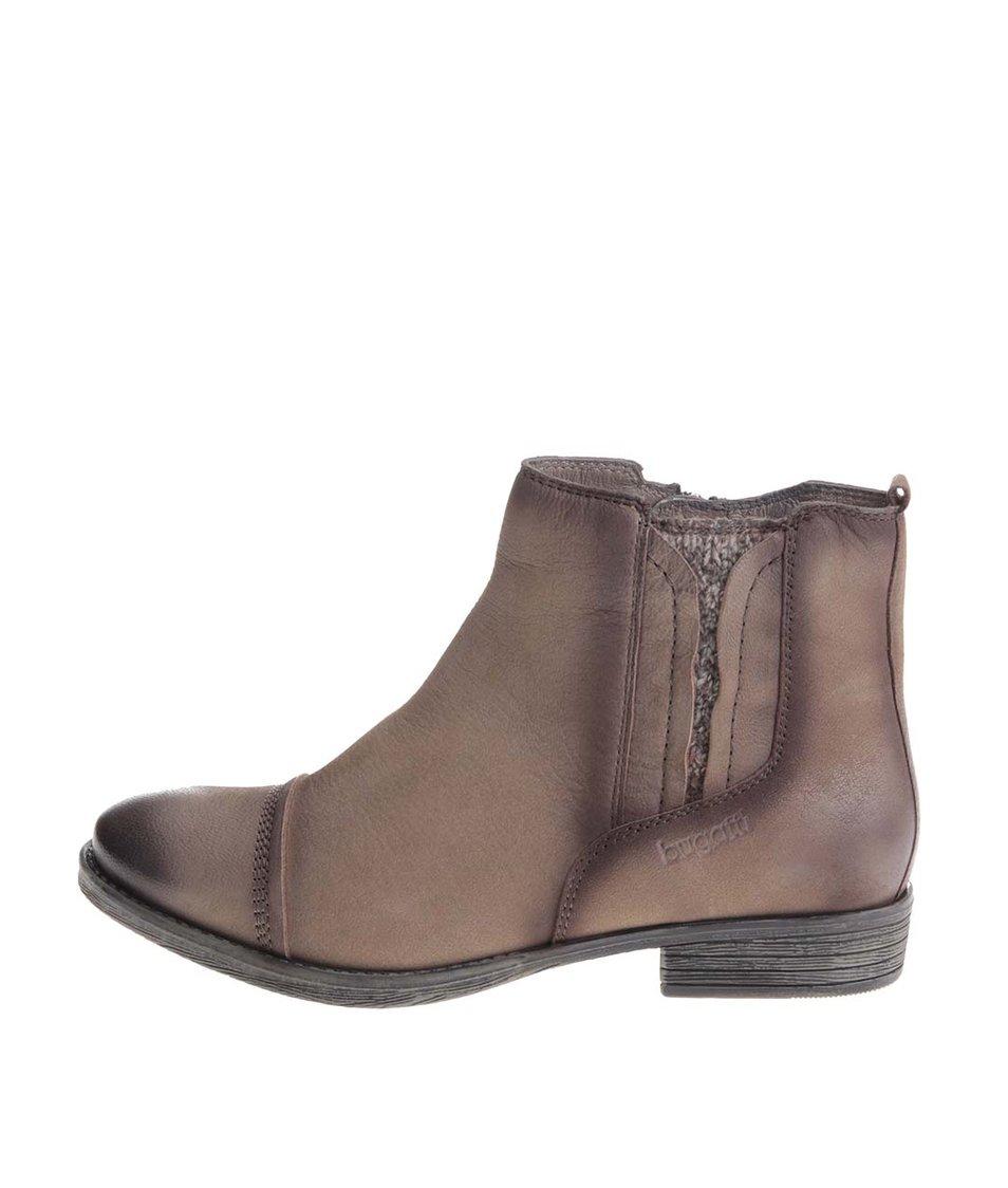 Hnědé dámské kožené kotníkové boty bugatti Hally