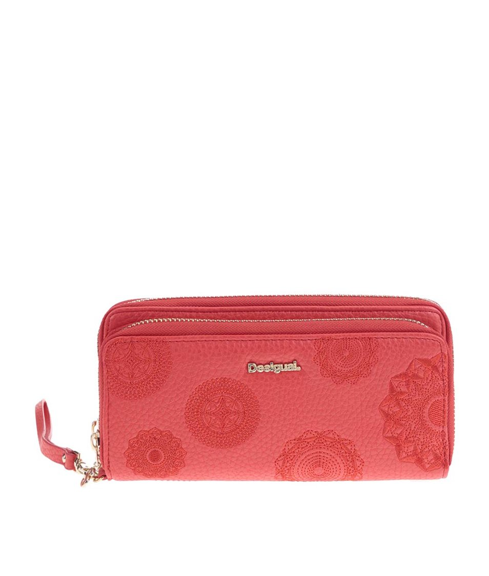 Červená velká elegantní peněženka s poutkem Desigual
