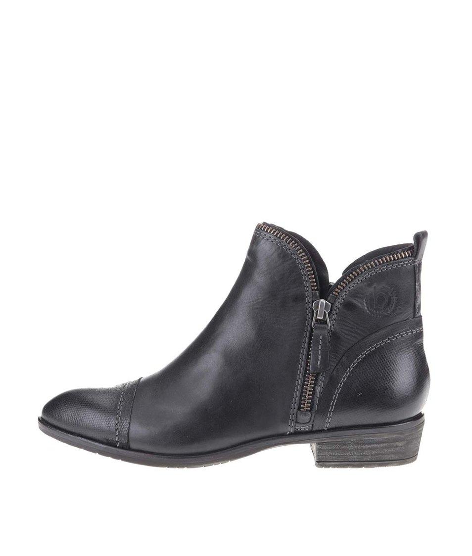 Černé dámské kožené kotníkové boty se zipem bugatti Tizi
