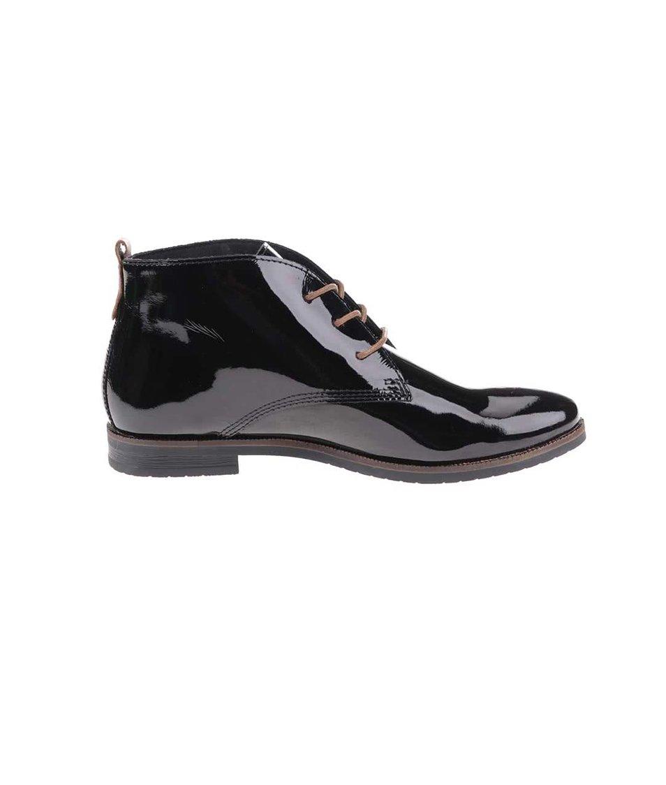 Černé dámské kožené lesklé boty bugatti Faith