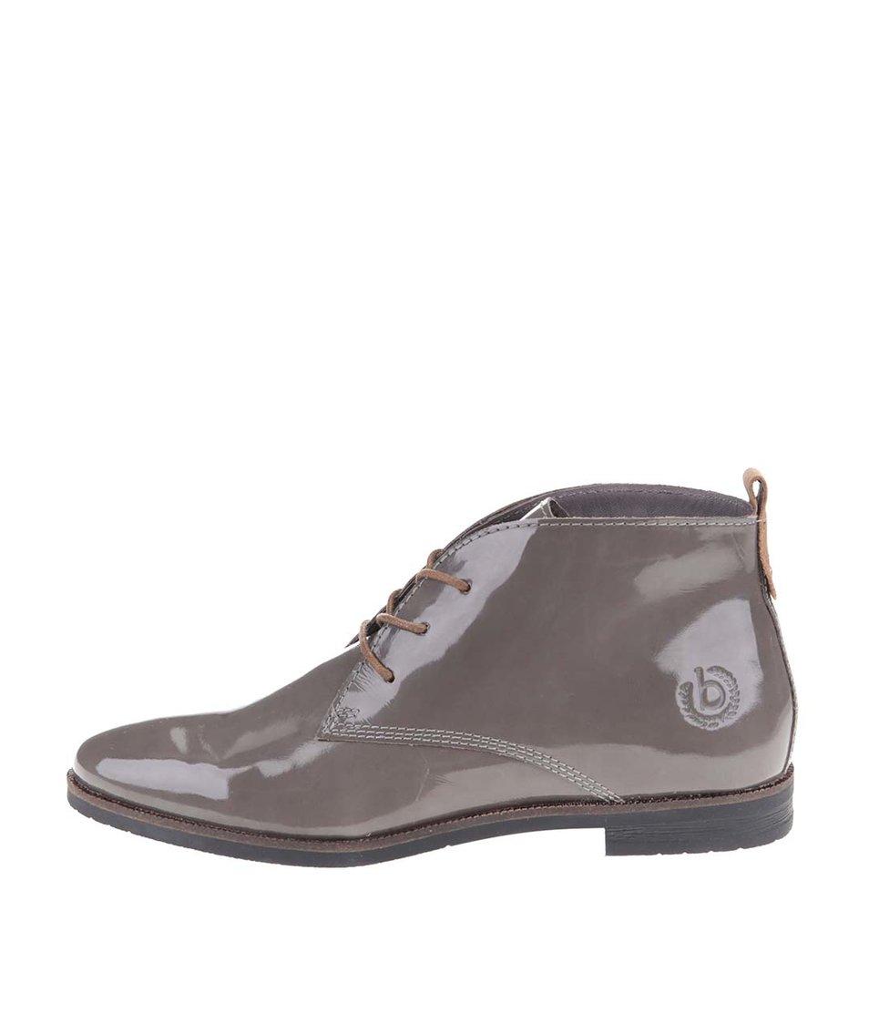 Šedé dámské kožené lesklé boty bugatti Faith