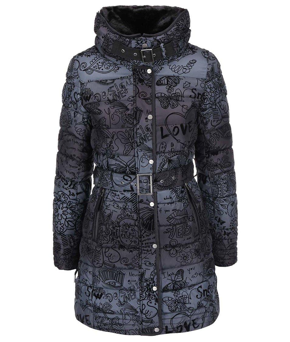 Tmavě šedý kabát Desigual Alethea