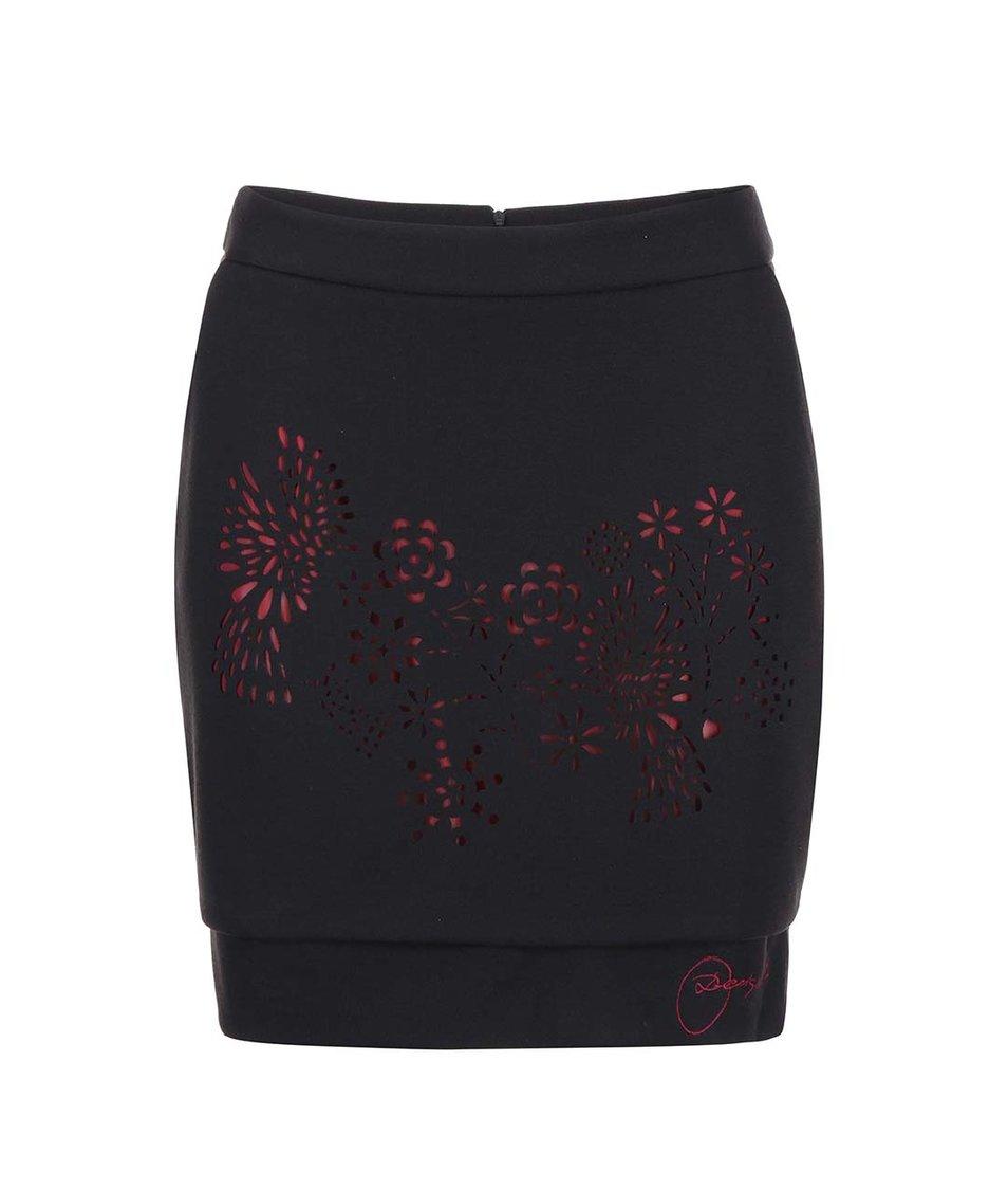 Červeno-černá sukně s děrováným vzorem Desigual Alala