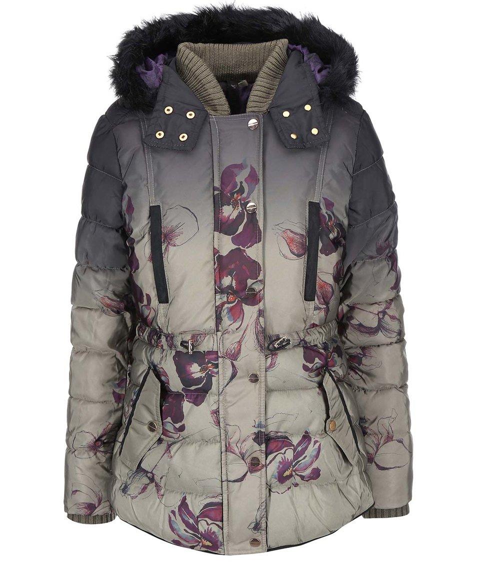 Khaki kabát s květinovým vzorem Desigual Nuria