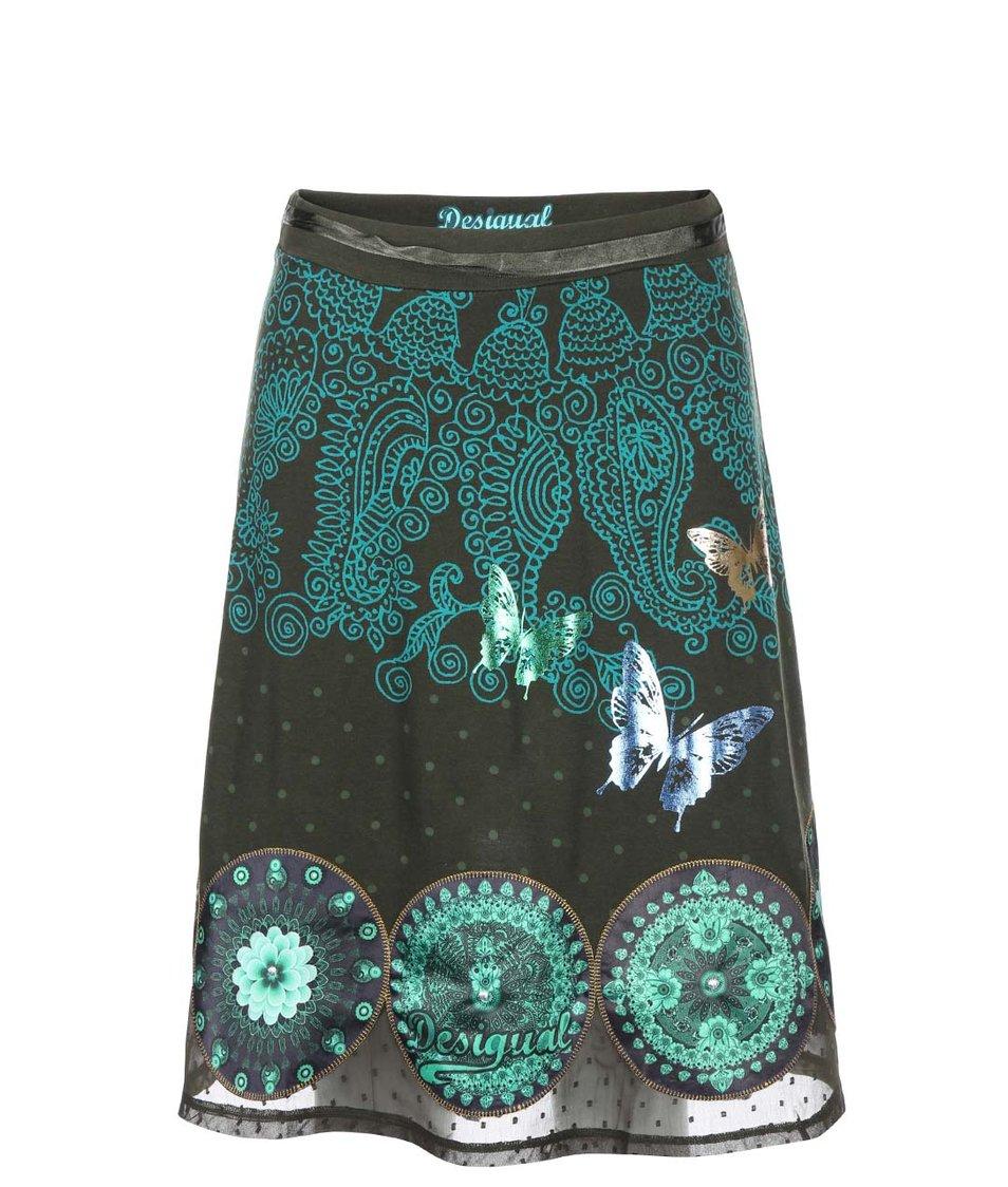 Zelená sukně se vzorem Desigual Cordelia