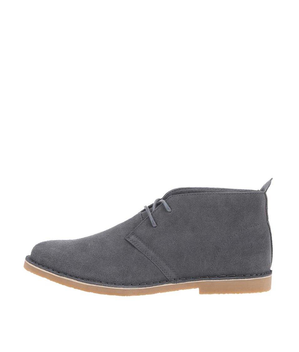 Šedé kožené kotníkové boty Blend