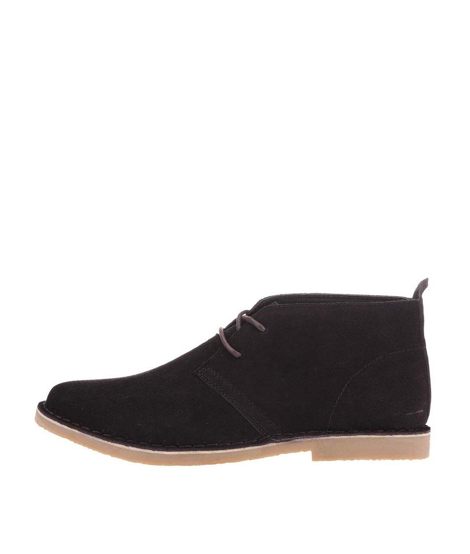 Hnědé kožené kotníkové boty Blend