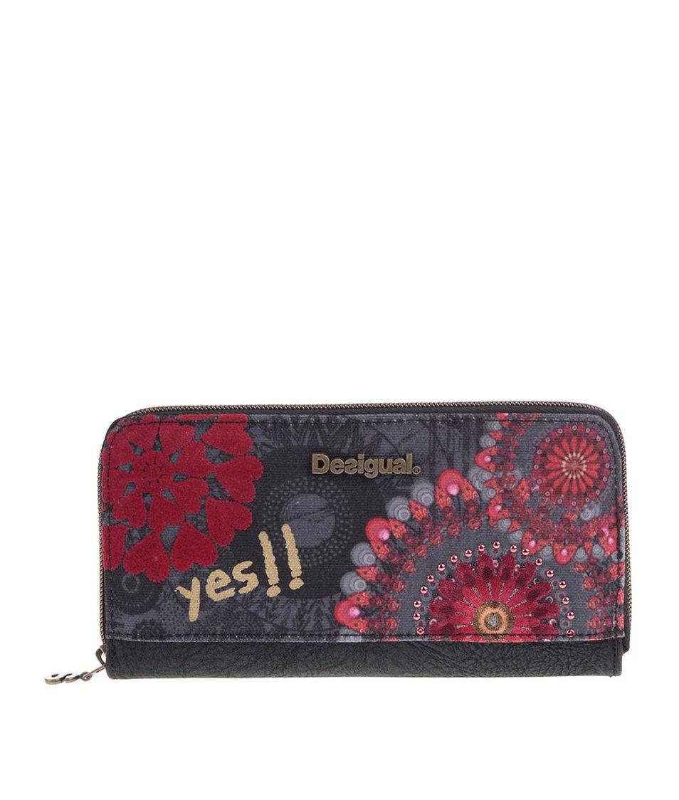 Černá peněženka s červenými ornamentálními vzory Desigual