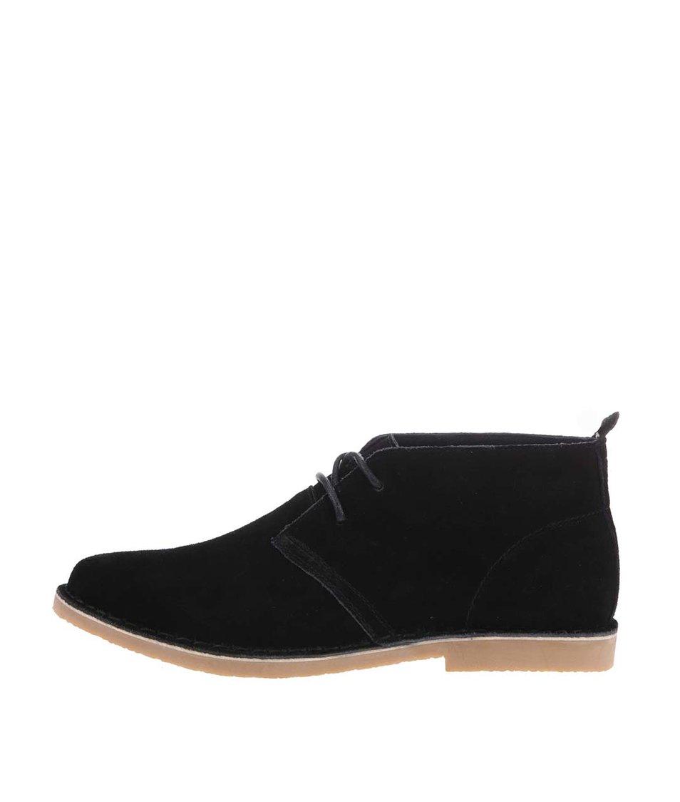 Černé kožené kotníkové boty Blend