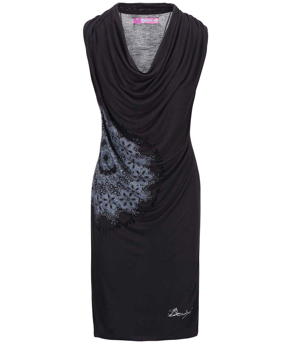Černé šaty se vzorem Desigual Carol
