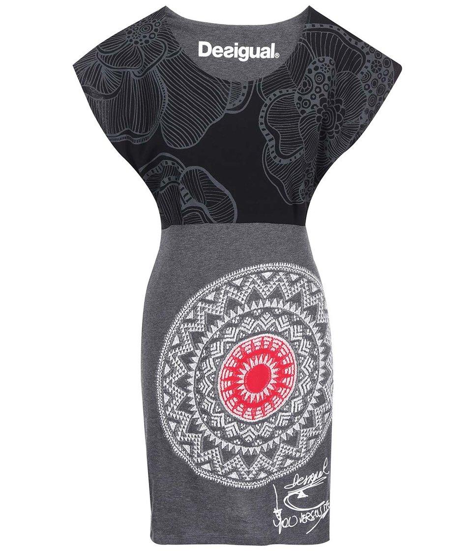 Černo-šedé šaty se vzorem Desigual Idem
