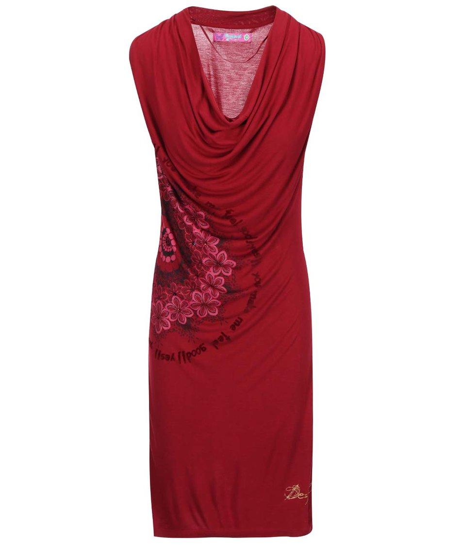 Vínové šaty se vzorem Desigual Carol