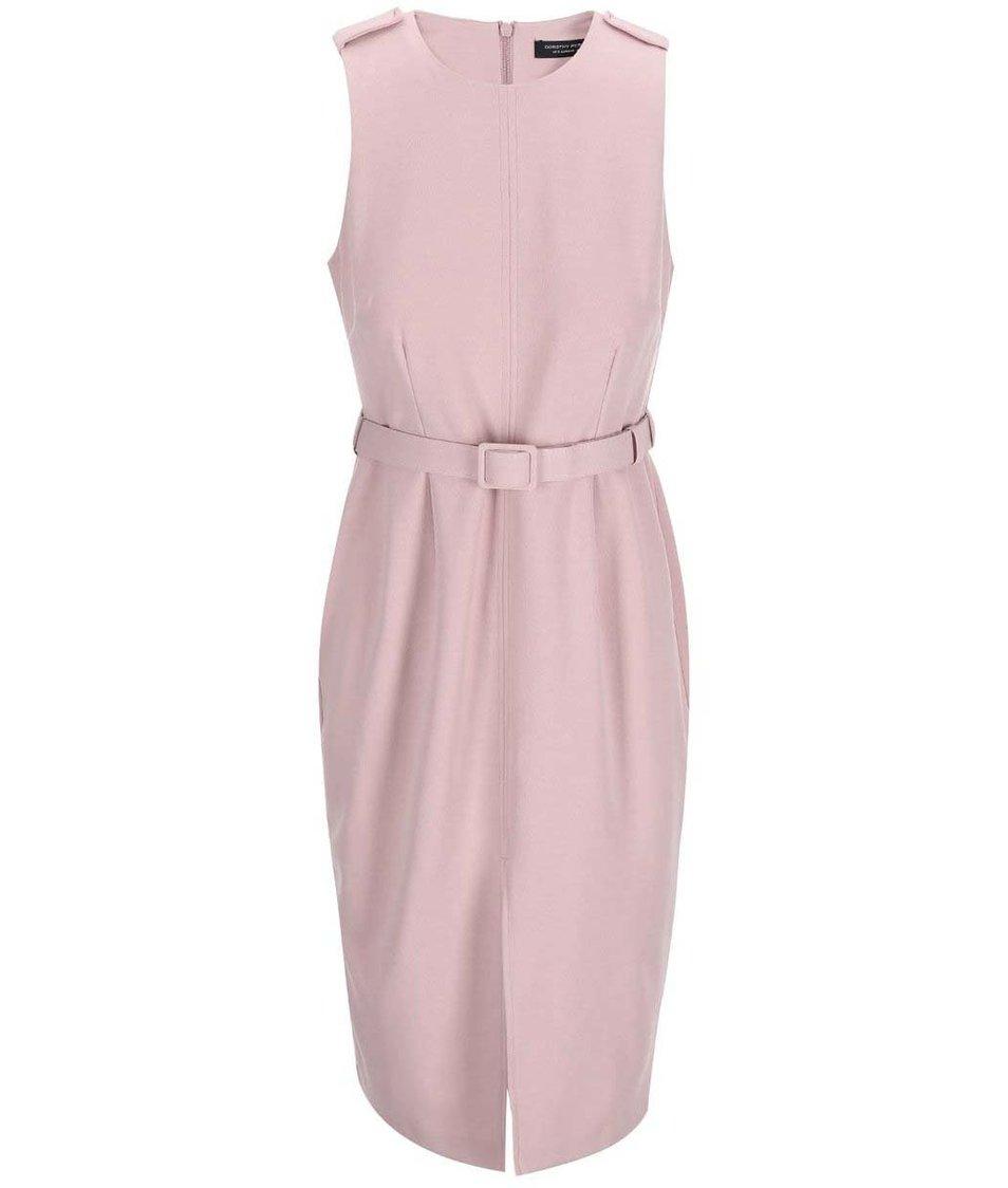 Růžové  midišaty s páskem Dorothy Perkins