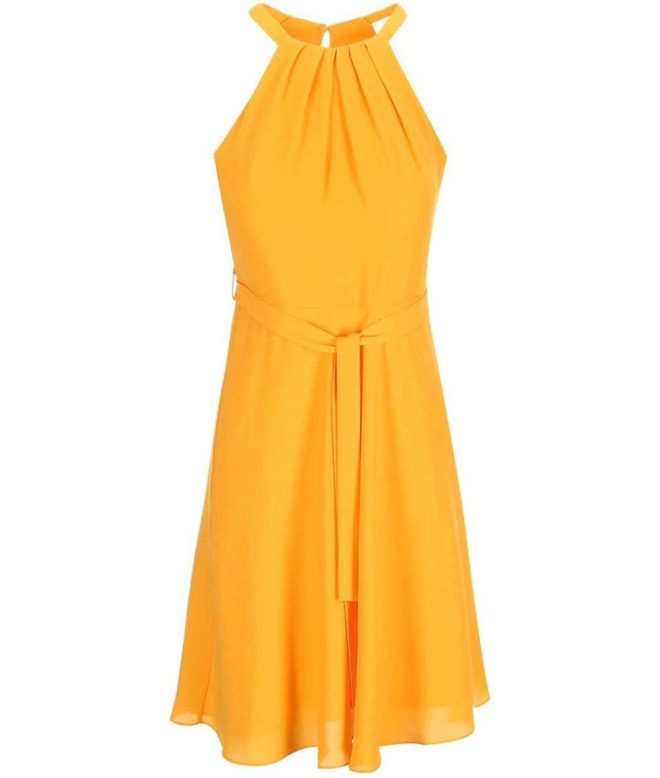 Žluté šaty s mašlí v pase Dorothy Perkins
