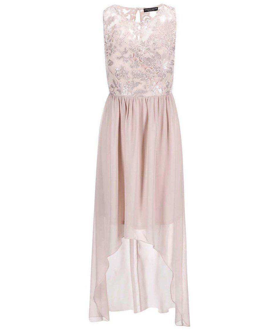 Béžové šaty s flitrovaným topem Dorothy Perkins