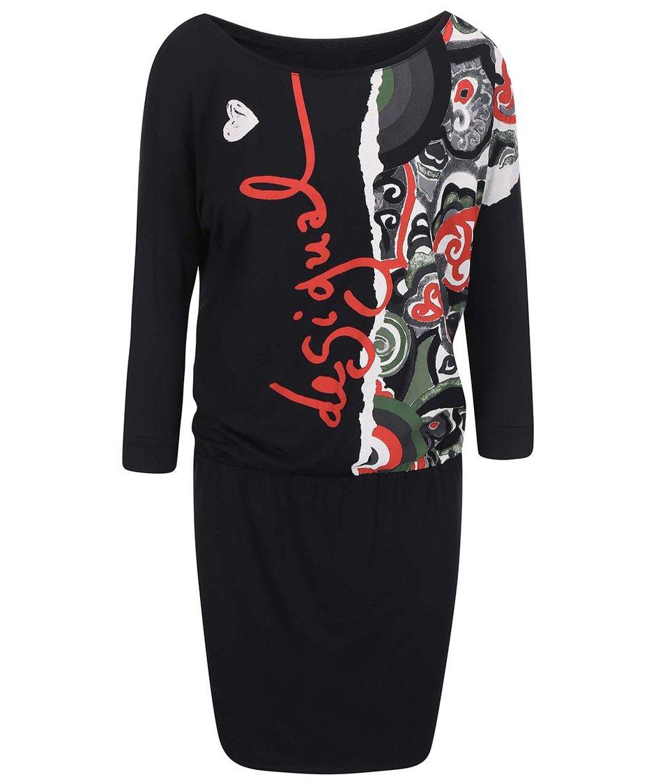 Černé šaty s potiskem Desigual Coraline
