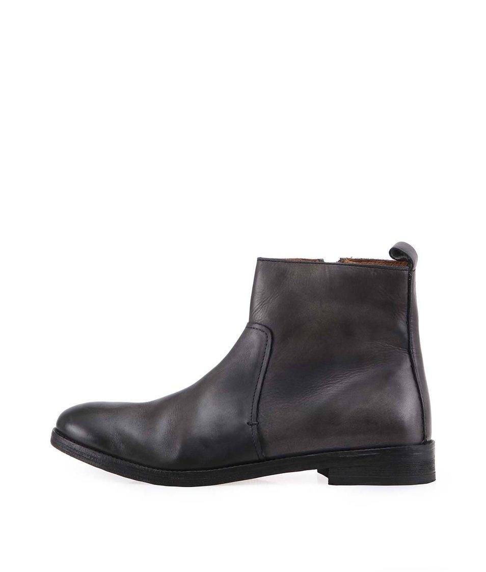 Černé kožené kotníkové boty Frank Wright Tenby