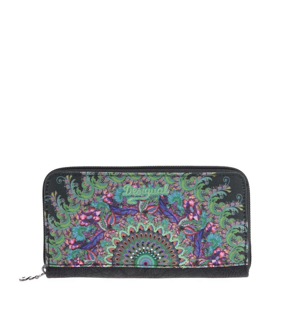 Zeleno-černá peněženka s ornamentálním vzorem Desigual Alana