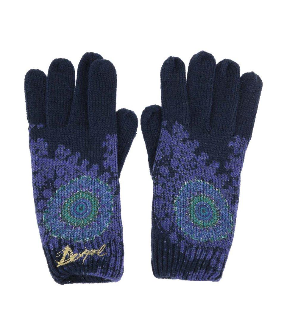 Modré rukavice se vzorem Desigual Blue