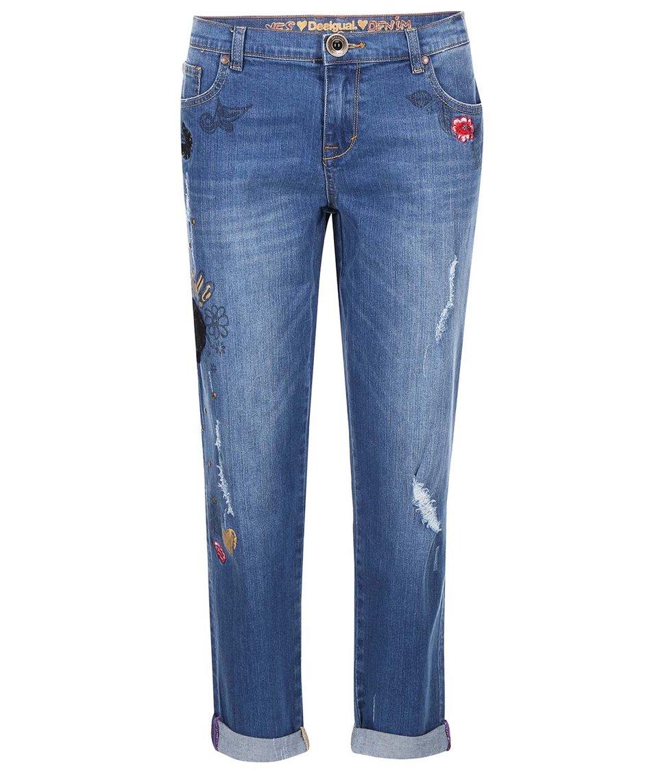 Modré džíny s barevnou výšivkou Desigual Full Rococo