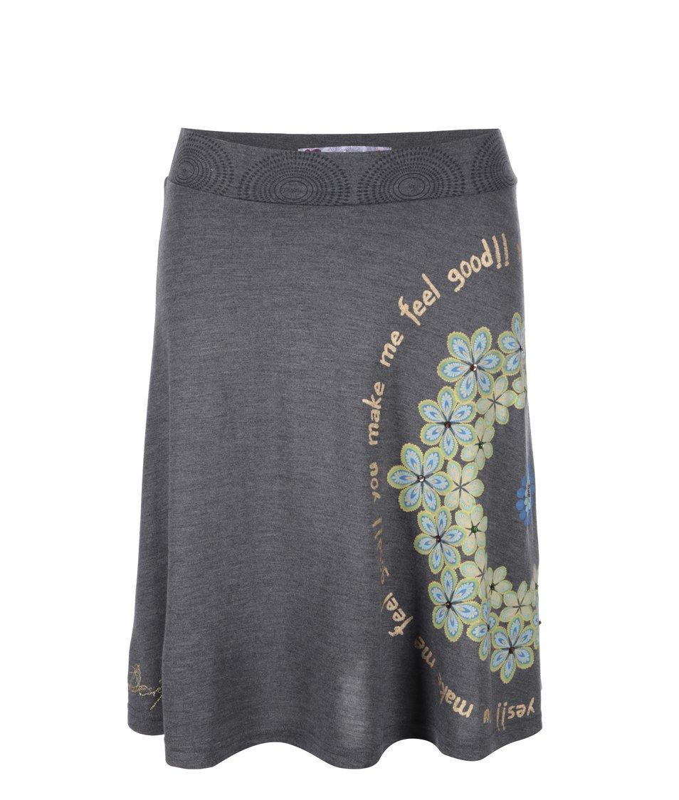 Šedá sukně se vzorem Desigual Vigo