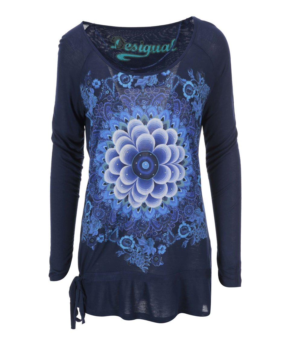 Modré tričko se vzorem Desigual Alberdrio