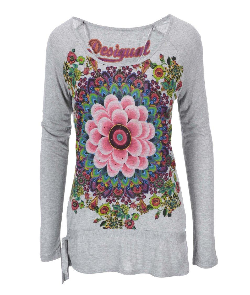 Šedé tričko se vzorem Desigual Alberdrio