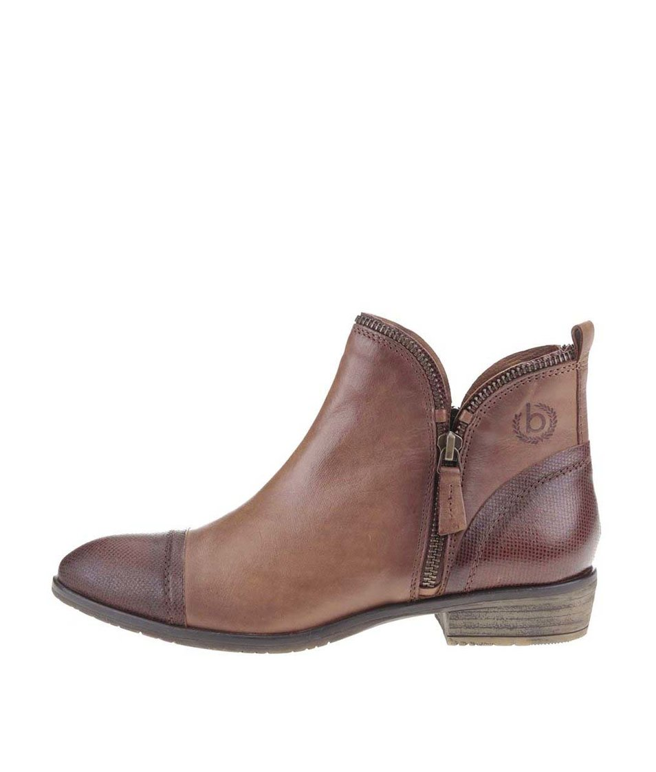 Hnědé dámské kožené kotníkové boty se zipem bugatti Tizi
