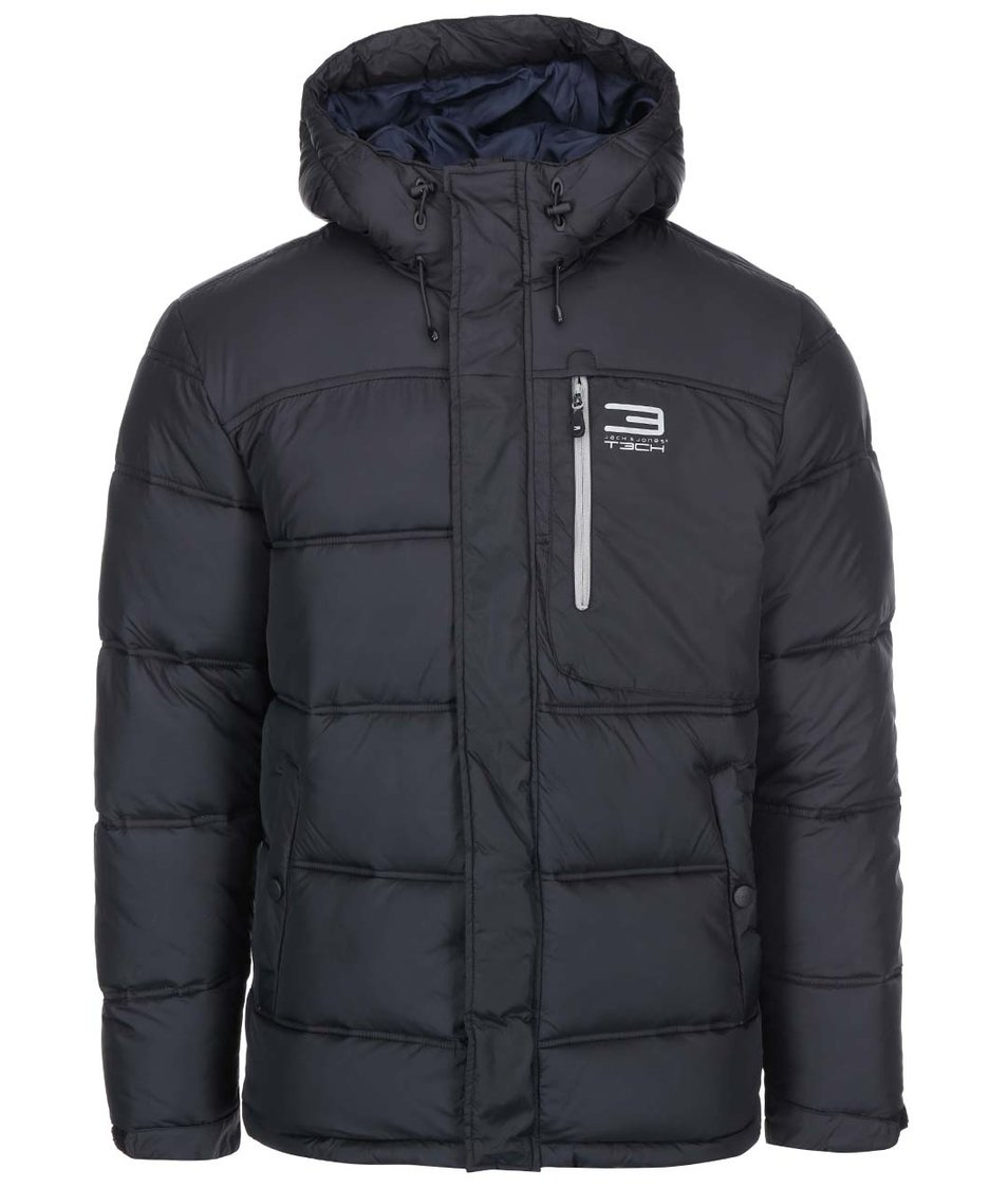 Černá prošívaná bunda s kapucí Jack & Jones Tech Hart