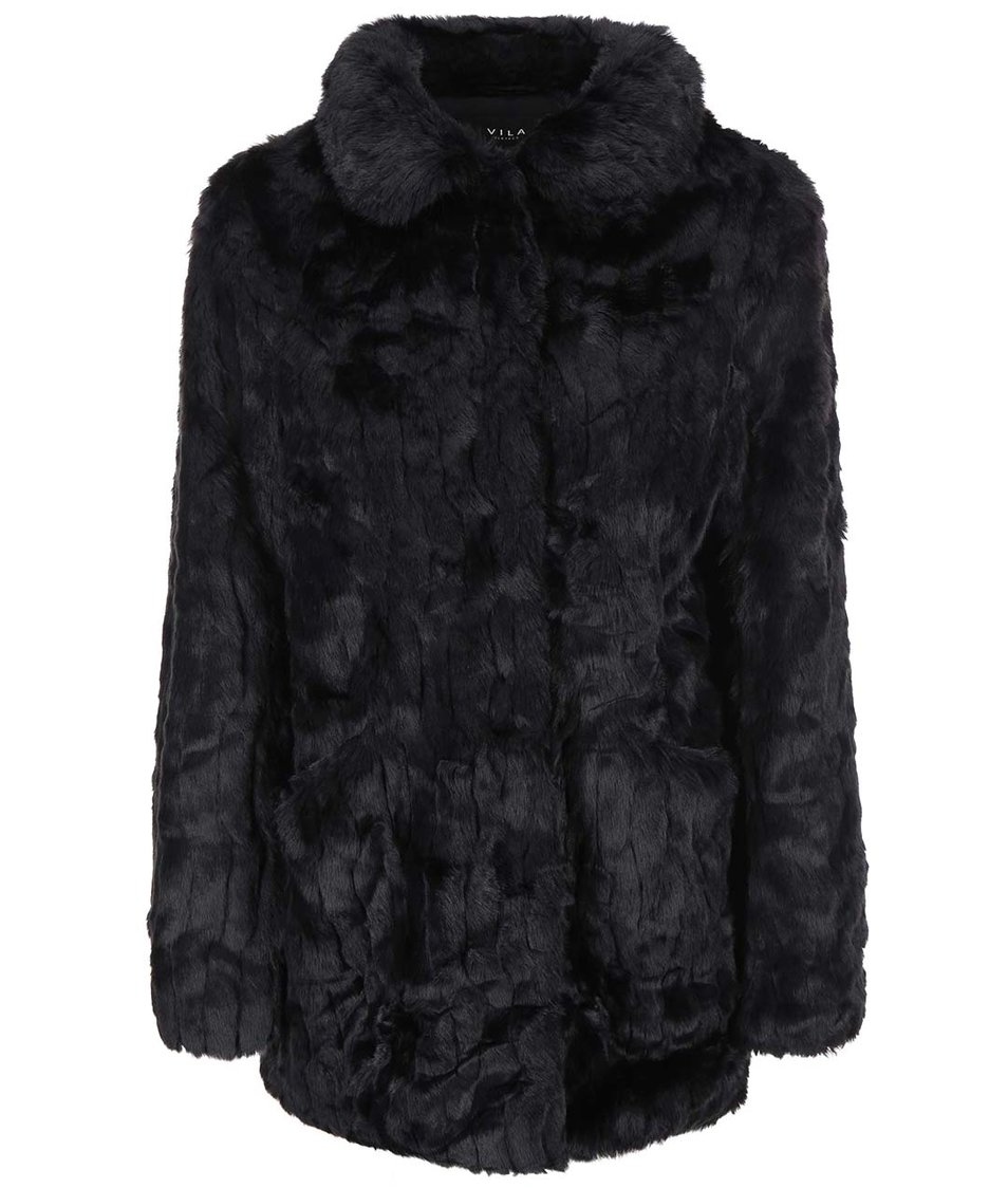 Černý kabát z umělé kožešiny VILA Perlie