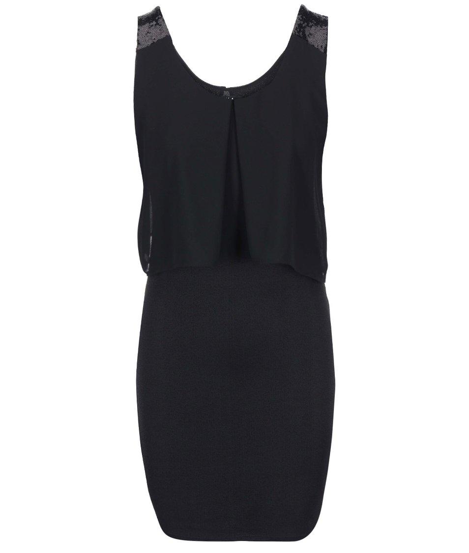 Černé šaty s flitry na ramenou VILA Luxa