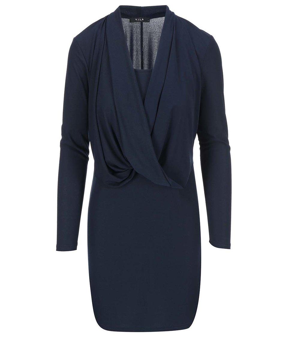 Tmavě modré šaty s dlouhým rukávem VILA Summary