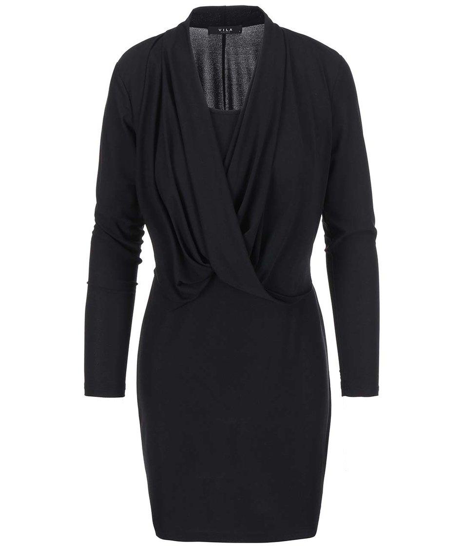 Černé šaty s dlouhým rukávem VILA Summary