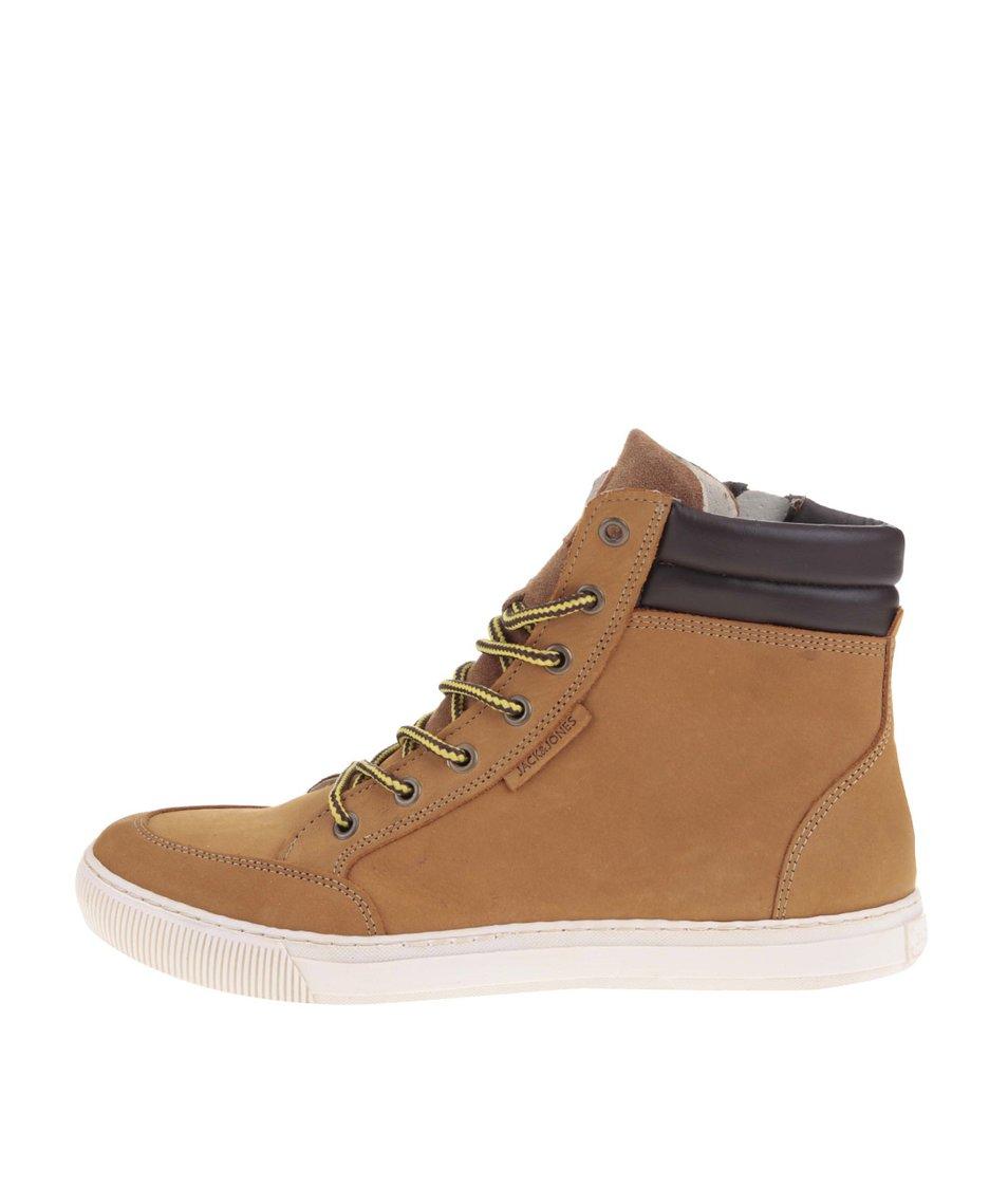 Světle hnědé kožené kotníkové boty Jack & Jones Monton