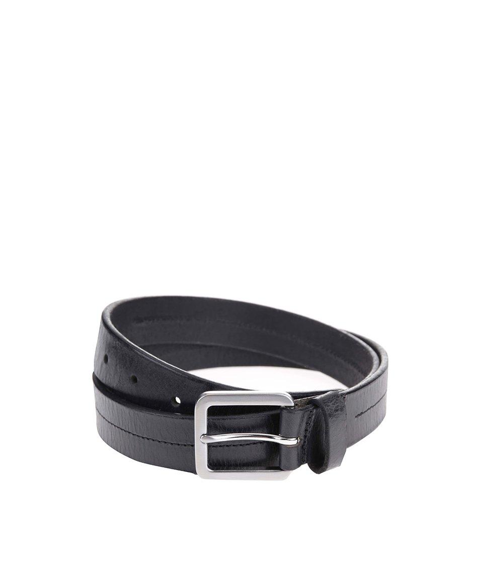 Černý kožený pásek Jack & Jones Stitch