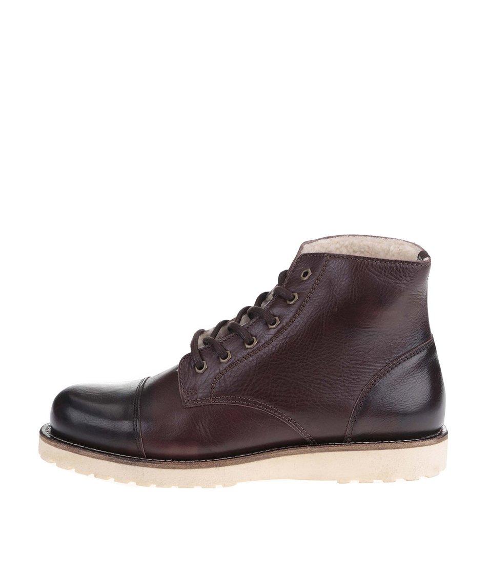 Hnědé kožené kotníkové boty Jack & Jones Milton