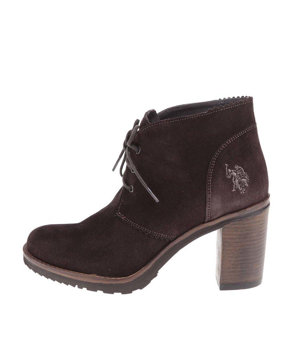 Tmavě hnědé dámské kožené boty na podpatku U.S. Polo Assn. Maruska