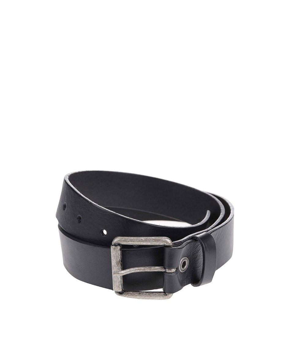 Černý hladký kožený pásek Jack & Jones Suprime