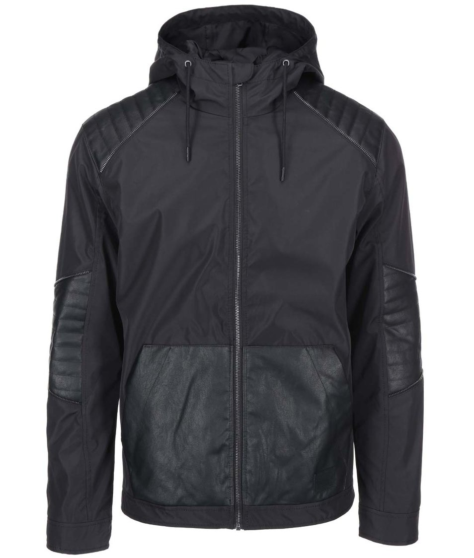 Černá lehká bunda s koženkovými detaily Jack & Jones Flex