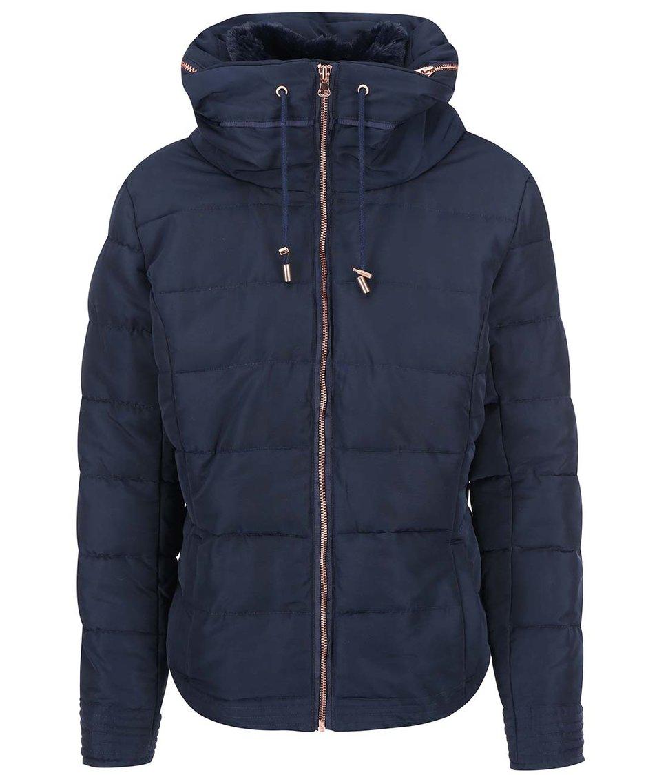 Tmavě modrá bunda s kapucí ICHI Snappi